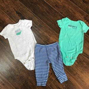 Carter's boys 3 mos 3 piece outfit with whale 🐳